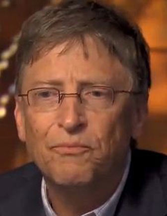 A photo of Bill Gates, looking <em>very</em> worried and unsure, as he discusses the safety of vaccines.
