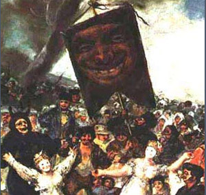 Painting by Goya, of festival crowd carrying a large banner with a picture of a jester's face.