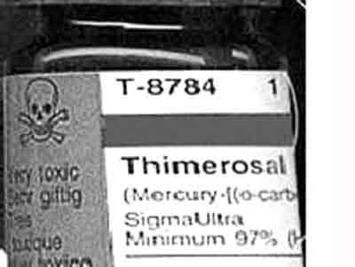 A photo of a label on a bottle of Thimerosal, showing a skull and crossbones.